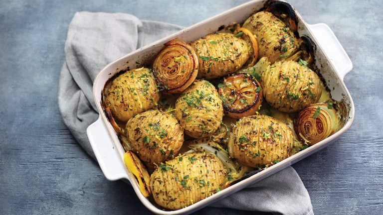Roasted Onion and Lemon Hasselback Potatoes