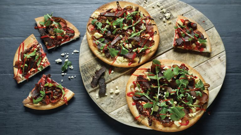 Biltong, Danish Feta and Rocket Pizza