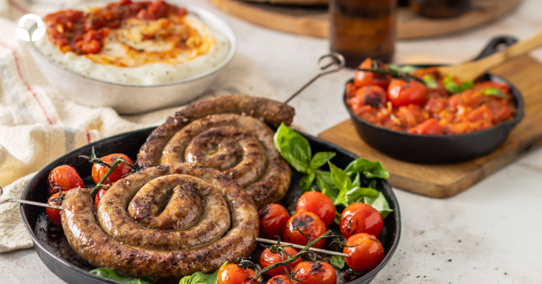 Boerewors with Traditional Mielie Pap and a Tomato and Basil Smoor