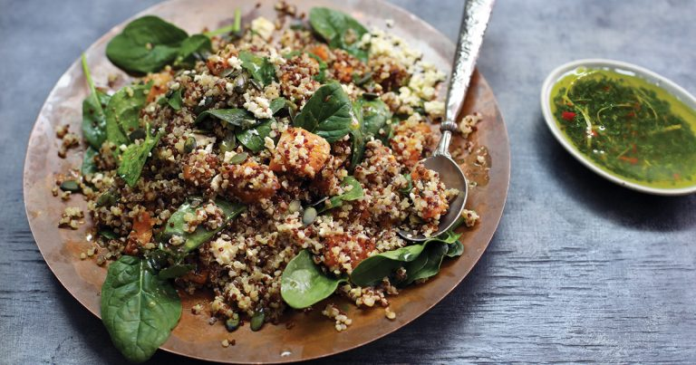Roasted Butternut and Spinach Quinoa Salad with a Lemon and Herb Vinaigrette