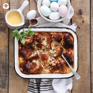 Chocolate Hot Cross Bun Pudding: A new take on the traditional bread and butter pudding – spoil the family with a decadent but simple take on hot cross buns.