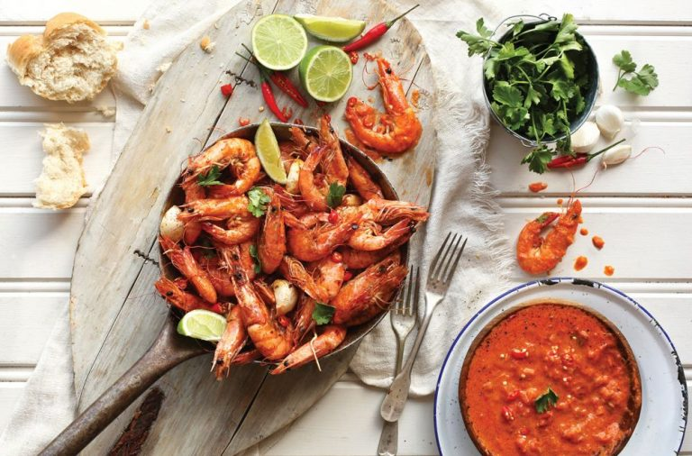 Pan-Fried Chilli & Garlic Prawns with Vodka Tomato sauce