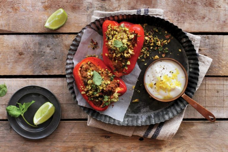 Peppers with Pistachio & Mint gremolata