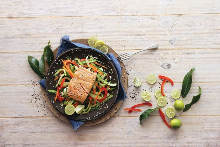 Sesame-Crusted Salmon with Crisp Veg Ribbons
