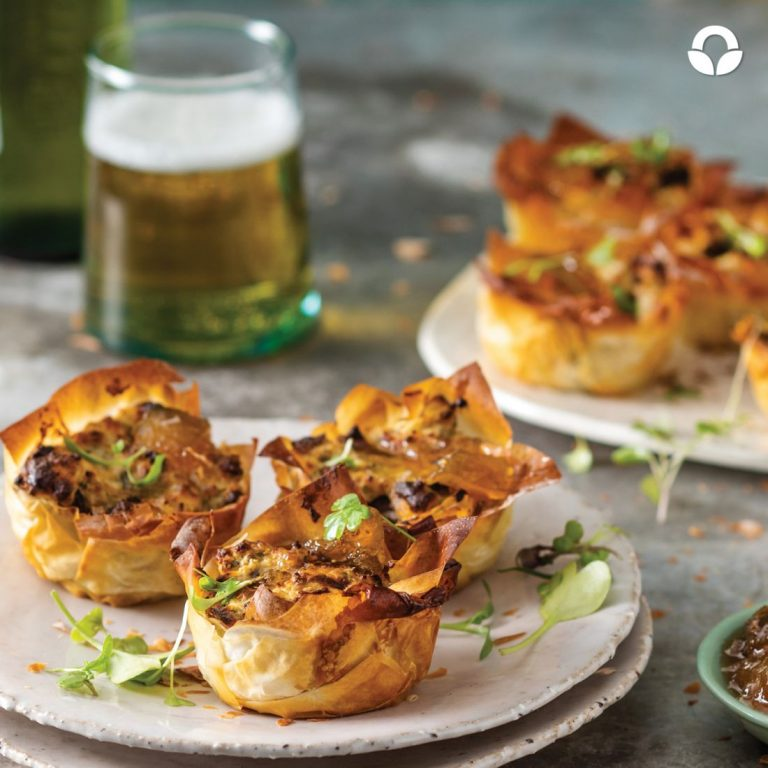 Biltong Quiche Phyllo Parcels with Cream Cheese