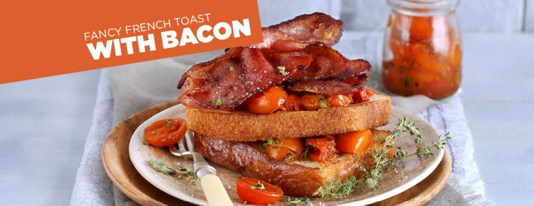 French Toast with Confit Tomatoes and Bacon