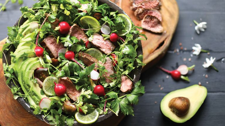 Grilled Steak Salad with Avocado and Chimichurri Sauce