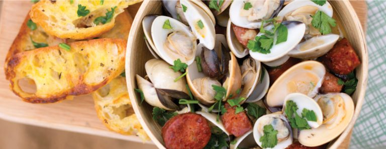 Sarah Graham's Beer-steamed Clams with Chorizo and Garlic Bread