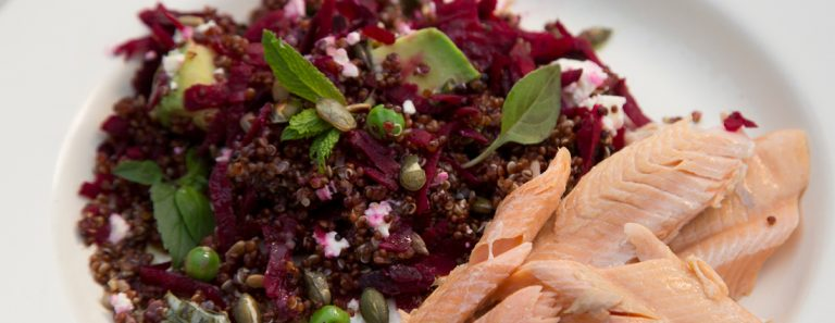 Sarah Graham's Rooibos Smoked Trout Served With Quinoa and Beetroot Salad with Creamy Herb and Horseradish Salad