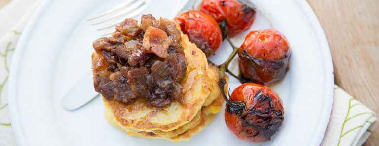 Sarah Graham's Sweetcorn Fritters with Blistered Tomatoes