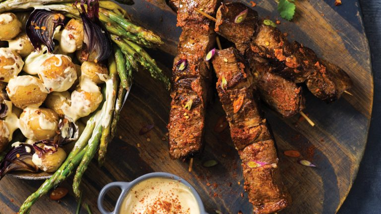 Beef Rump Shishkebabs Served with a Chargrilled Baby Potato and Asparagus Salad in a Creamy Mustard Mayo