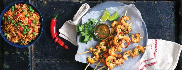 Prawn Skewers with Spicy Rice