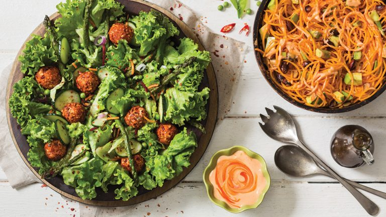 Carrot Spiral Salad with Avocado, Almonds and a Spicy Sriracha Dressing