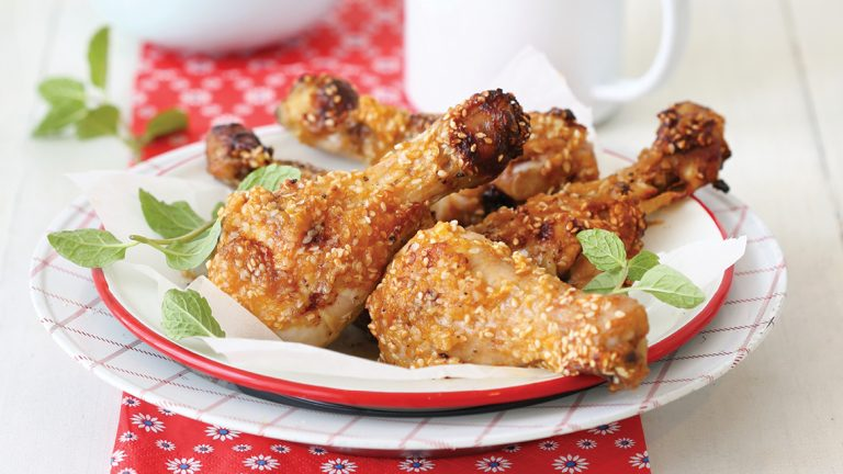 Paw Paw and Sesame-Crusted Chicken Drumsticks