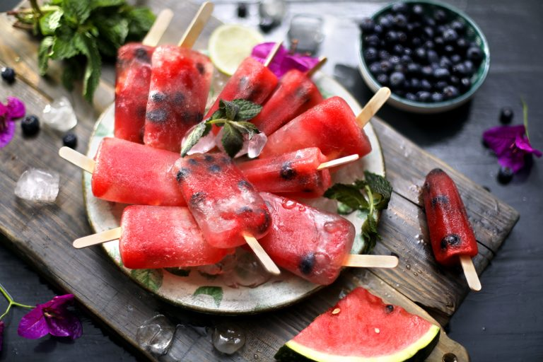 WATERMELON AND BLUEBERRY MOJITO ICE LOLLIES