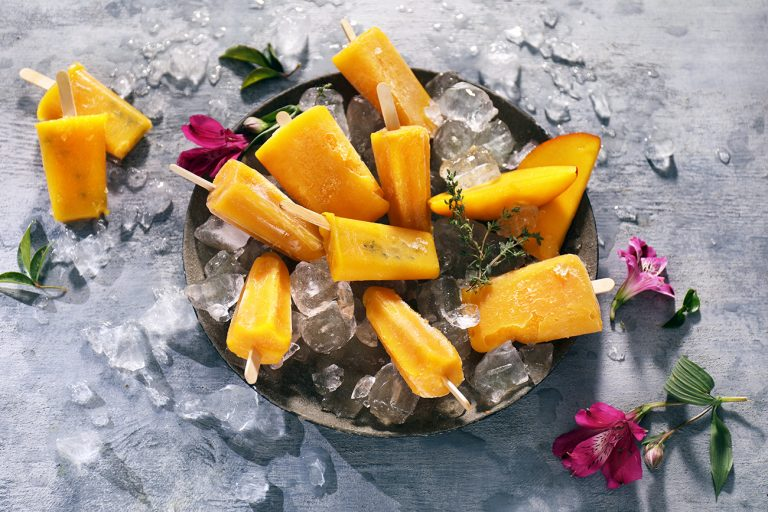 MANGO, LIME AND THYME POPSICLES
