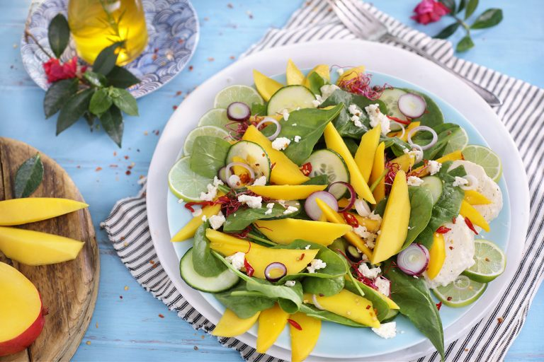 SUMMER MANGO AND FETA SALAD WITH A CHILLI, LIME AND HONEY DRESSING