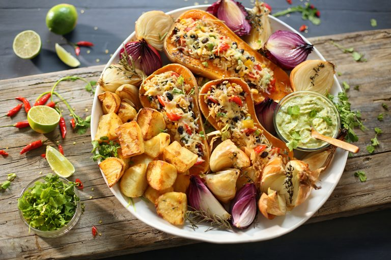VEGETABLE PLATTER WITH STUFFED MEXICAN BUTTERNUT HALVES