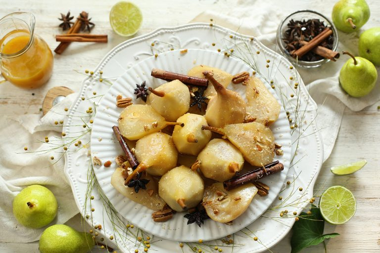 Chardonnay Spiced Poached Pears