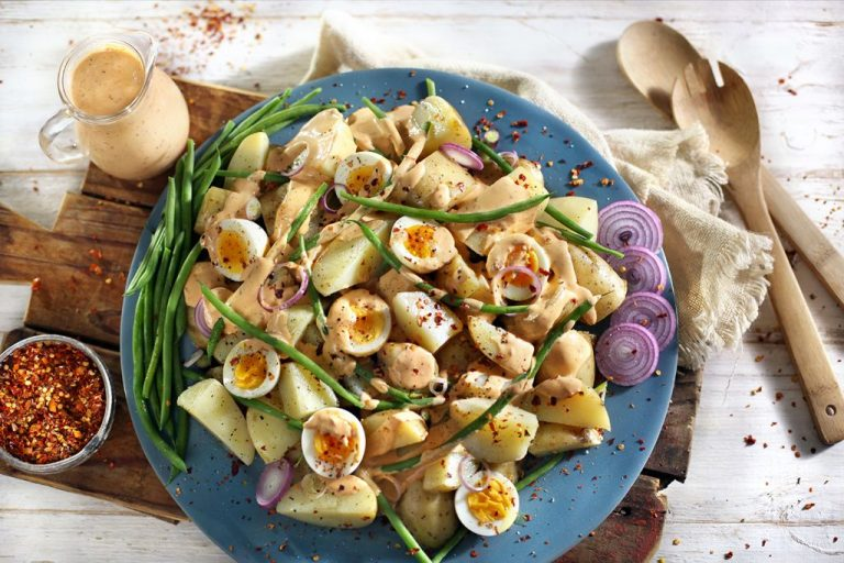CHUNKY POTATO SALAD WITH HARISSA MAYO DRESSING