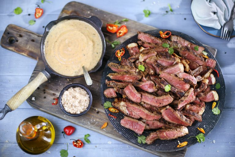 Fillet Steak Chargrilled on the Braai Served with a Creamy Peppercorn Sauce