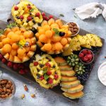Summer pineapple and spanspek fruit salad platter