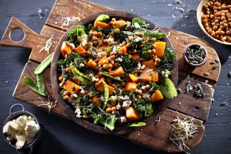 WINTER, ROASTED BUTTERNUT AND KALE SALAD