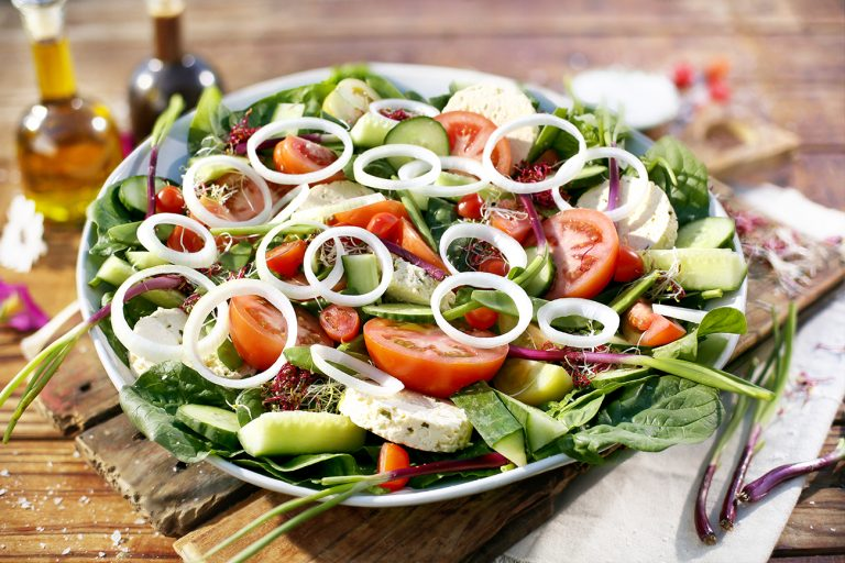 SPRING GREEK SALAD WITH OLIVE TAPENADE DRESSING
