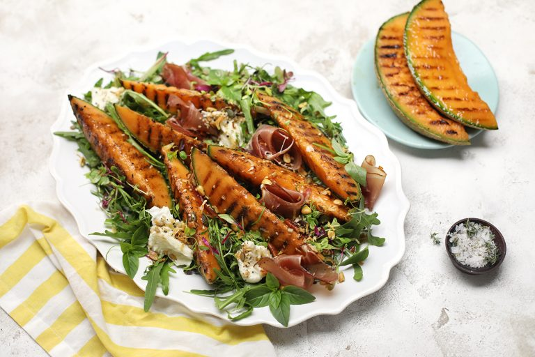 Grilled Spanspek Salad with Ginger and Lime dressing