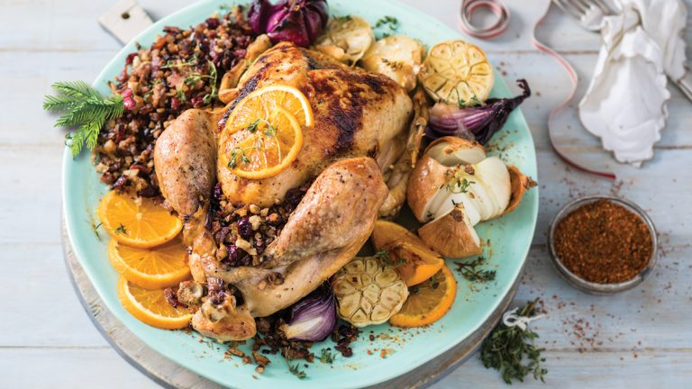ORANGE, MAPLE AND GINGER ROAST TURKEY WITH A CRANBERRY STUFFING