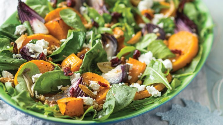 ROASTED BUTTERNUT AND RED ONION SALAD WITH GOAT'S CHEESE AND PECAN NUTS
