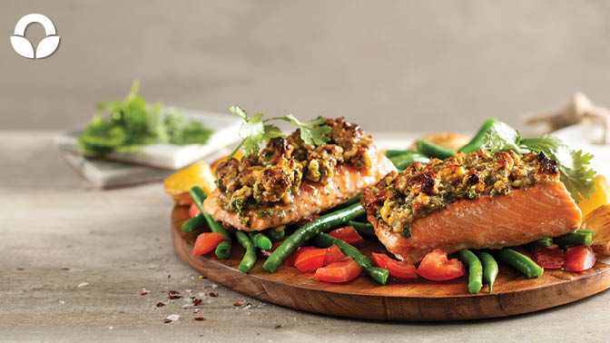 Maple and Walnut Crusted Norwegian Salmon with Zesty Green Beans