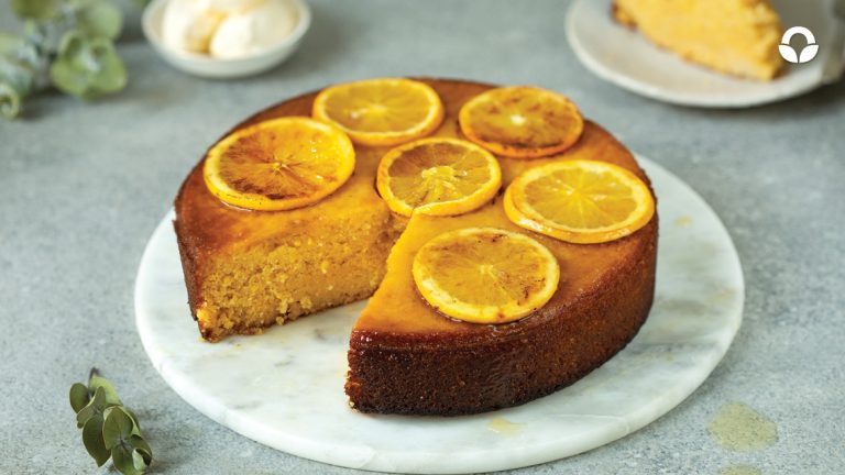 Orange Polenta Cake with Cardamom Syrup