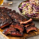 porkloin ribs with coleslaw