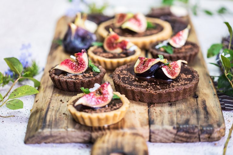 Chocolate Ganache Tart with Honey Roasted Figs
