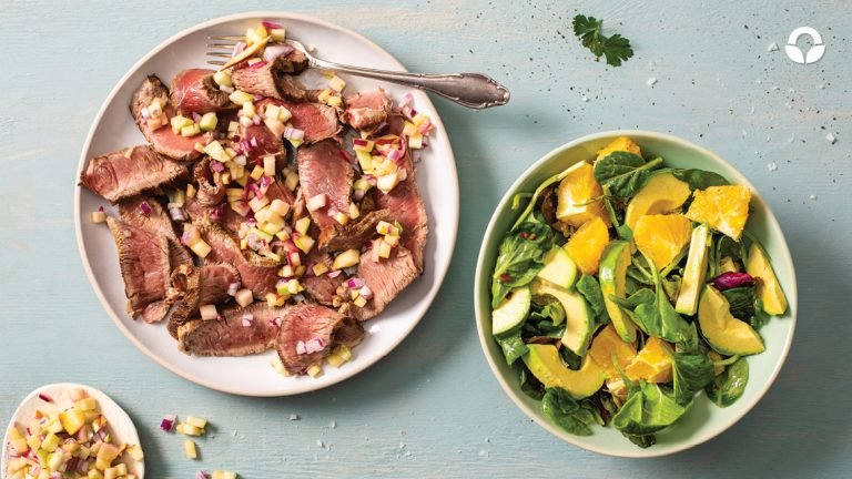 Rump Steak Strips with Apple & Red Onion Salsa, and Avocado & Orange Salad