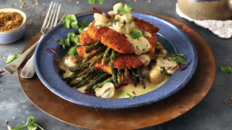 CHICKEN SCHNITZEL WITH MUSHROOM & GOAT'S CHEESE