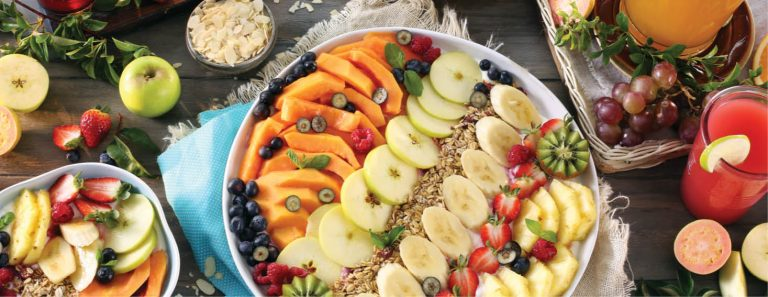 Breakfast Fruit Platter with Strawberry and Blueberry Yoghurt