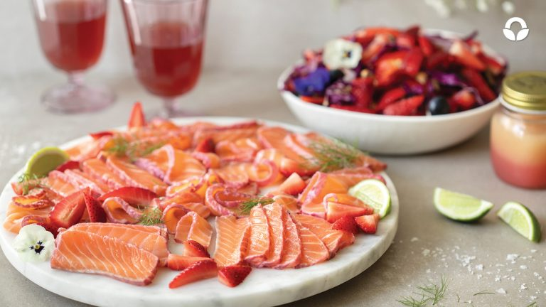 Strawberry and Rosè Cured Salmon