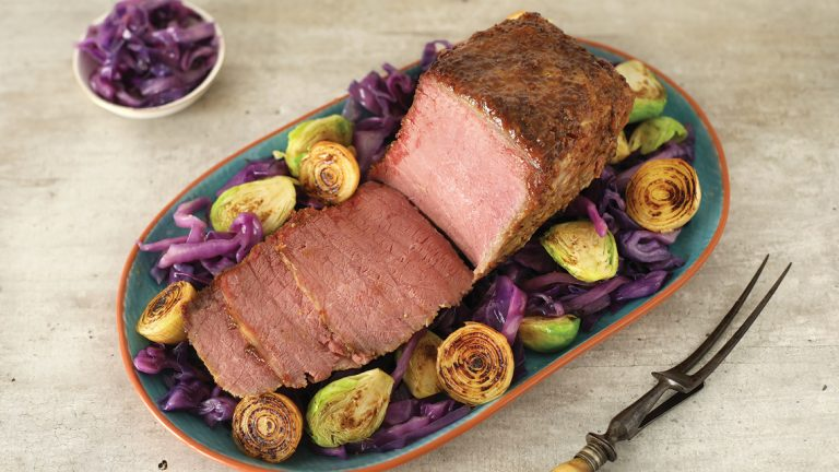 Beer Braised Corned Beef with a Whisky Mustard Glaze