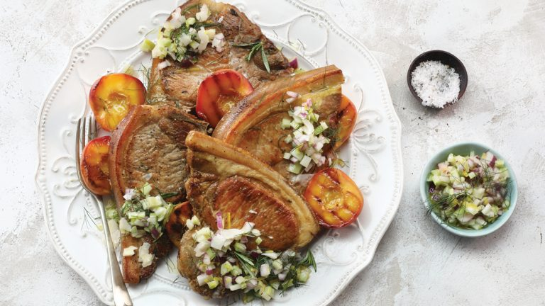 Pork Loin Chops with Grilled Nectarines
