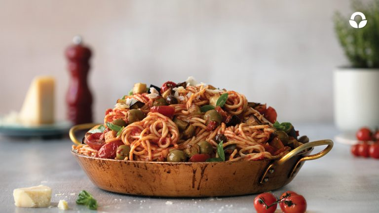 Crispy Aubergine, Tomato and Mixed Olive Spaghetti