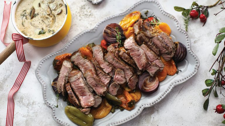 Seared rump with roasted rainbow veg and exotic mushroom sauce