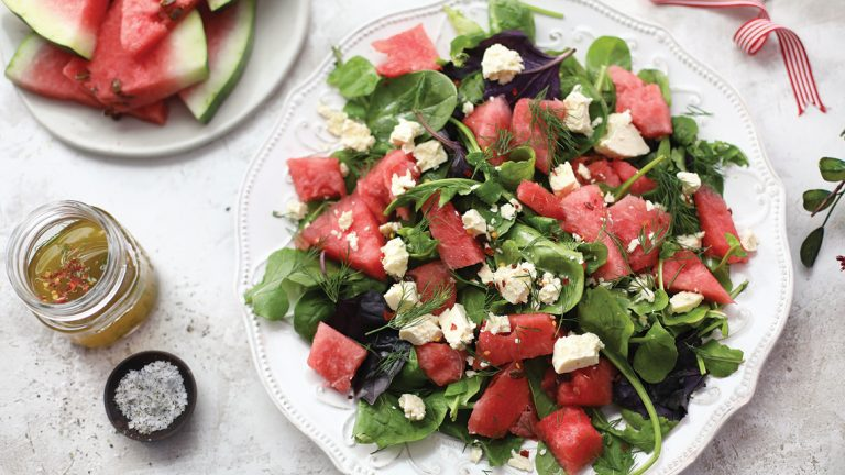 Watermelon, feta and dill summer salad
