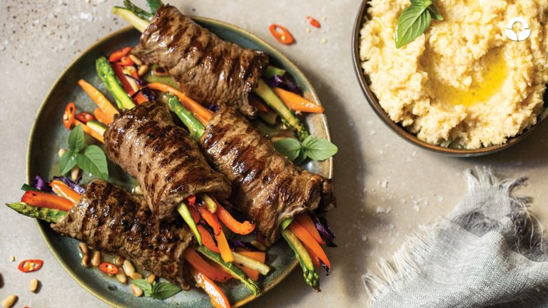 Mediterranean Rump Steak Veggie Rolls with Cauli-Mash