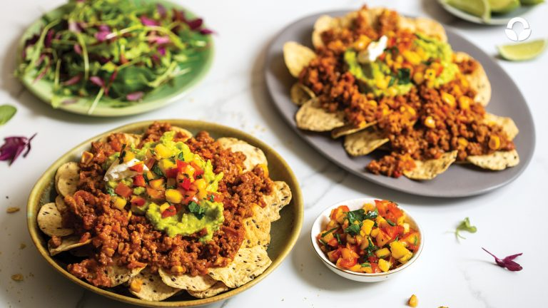 Spicy Beef Nachos with Nectarine Salsa