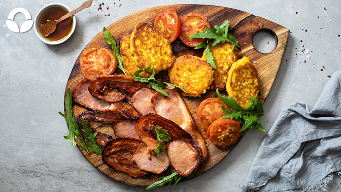 Maple Glazed Bacon Rashers with Sweetcorn & Buttermilk Fritters