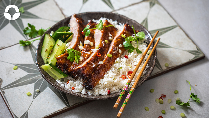 Pineapple and Sriracha Pork Spare Ribs with Coconut Rice and Pickled Cucumber