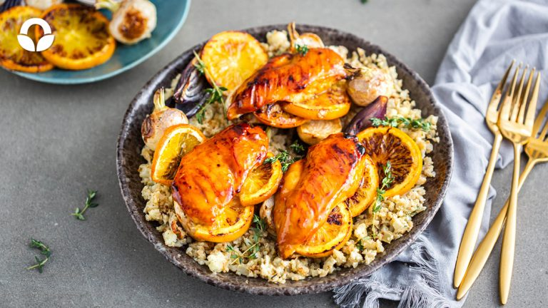 Citrus-glazed Chicken with Cauli Rice