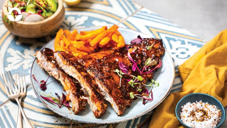 Sticky Hoisin Spare Ribs with Sweet Potato Fries